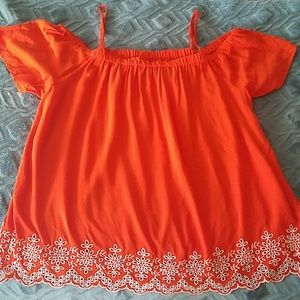 Old Navy red off the shoulder swing blouse